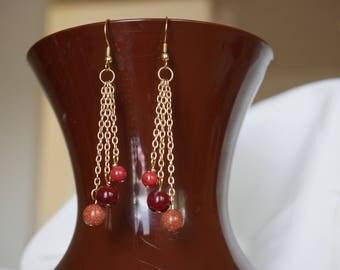 Gold Dangle Chain Red Earrings