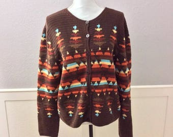 Vintage Pendelton Knit Cardigan Brown with Southwestern Colors and Pattern