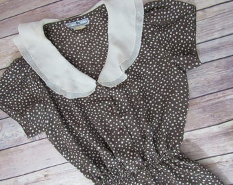 Jonathan Martin Vintage 80s/90s Brown White Polka Dot Short Sleeve Dress Size 3/4