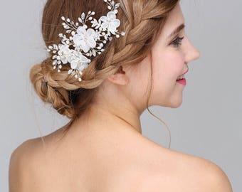 White Flower Wedding Clip,Bridal Hair Clip,Mesh Flower Clip,Bridal Hair Accessories.