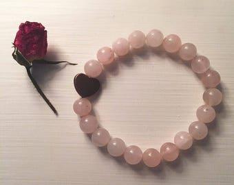 Beaded Copper Heart Charm Bracelet