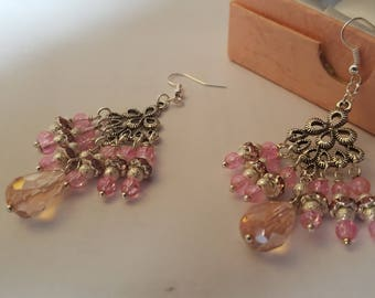 pink beaded chandelier earrings