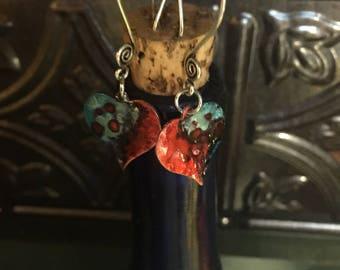 Handpainted enamel heart drop earrings