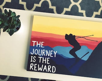 """18"""" x 24"""" Inspirational Skiing Painting: Customizable Saying/Quote"""