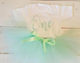 first birthday set - mint green