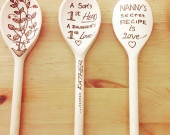 Decorated Wooden Spoons with Pyrography/woodburning