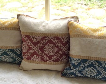 Schumacher linen damask pillow covers