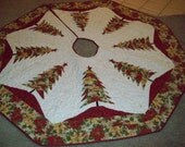 """64"""" Larger Christmas Tree Skirt #82 Quilted, Reversible"""