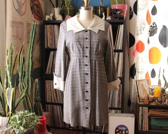 vintage 1960s dress by Marian Sue . brown & cream houndstooth wool dress with empire waist and long sleeves . mod 60s dress . APPROX m l