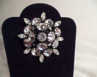 1950's Brooch with Large Rhinestones-Unsigned Beauty