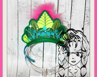TRoLL PoPPie GReen PiNK PRiNCESS CRoWN ~ In The Hoop Headband ~ Downloadable DiGiTaL Machine Embroidery Design by Carrie