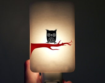 Owl Night Light on White Fused Glass - Kids Nightlight with Night-owl - Home Decor black white red