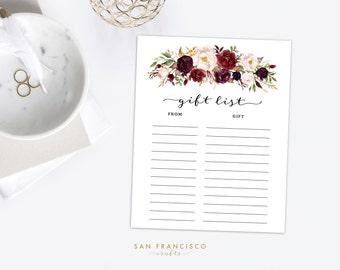 Gift List Sheet   Bridal Shower, Baby Shower, Wedding   Printable, Digital File - Holly Collection - PDF - Instant Download