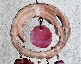 Recycled Glass Wind Chime Suncatcher Mobile Red-Mars is for Lovers