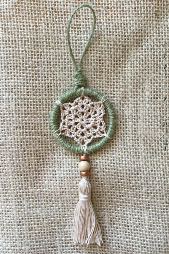 Mini Dreamcatcher Crochet and Tassel Christmas Ornament in Sage Green/Boho Chic Holiday Decor/Mini Wall Hanging Boho Hippie Gift Under 20