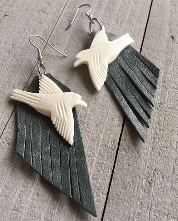 Fringe Earrings Boho Chic Earrings Dangle Earrings Real Leather Fringe & Carved Bird Native Hippie Earrings Boho Jewelry Festival Fashion