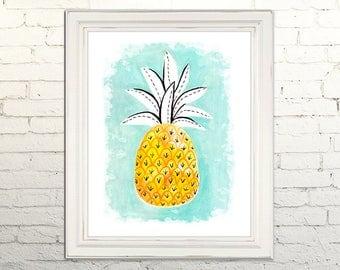 PINEAPPLE Digital Art Print Watercolor Illustration Beach Summer Nursery Art Clipart Gallery Tropical Beach Fruit Kitchen Vacation Cabana
