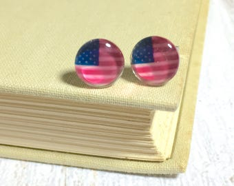 Fourth of July Earrings, American Flag Studs, Glass Stud Earrings, Red White and Blue, Flag Earrings, KreatedByKelly