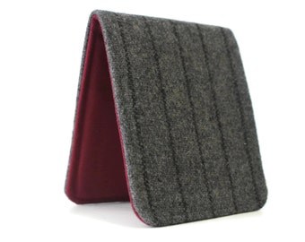 Mens Slim Wallet / Minimalist / Grey Pinstripe Wool