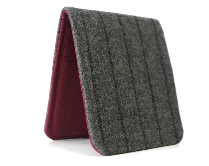 Mens Slim Wallet / Minimalist / Grey Pinstripe Wool