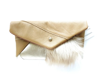 Envelope Clutch Patchwork Leather and Fur