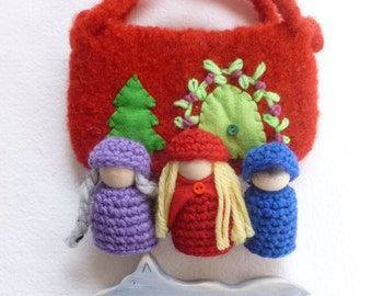 Little Red Riding Hood wool cottage set wood peg dolls wolf Storytelling Peg dolls.