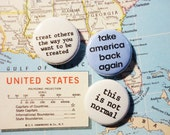 Take America Back Again Because This Is Not Normal - 1 Inch Pinback Button Trio