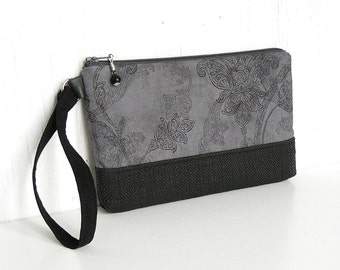 Zipper Wristlet Clutch, Wrist Pouch, Fabric Wristlet Wallet, Cotton Clutch - Fleur Nocturne in Pewter Gray and Black
