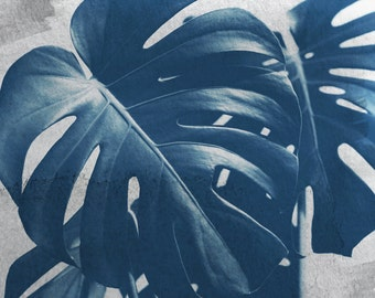 Nature Photograph - Monstera Print - Tropical Print - Botanical Photograph - Blue Monstera #1 - Fine Art Photograph - Cyanotype - Wall Art