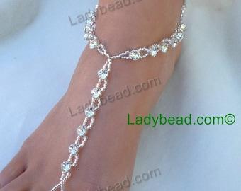 TFT20 Rhinestone Beach Jeweled Ladybead Footwear Bling for the Barefoot Bride