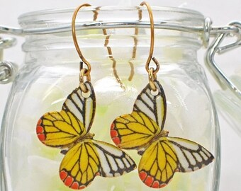 Butterfly Earrings Grace and Beauty - Yellow White Butterfly Jewelry - Butterfly Jewellery - Gift for Nature Lover