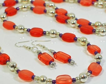 Red and Purple Long Necklace Set Watermelon - RP Dazzle! - Red Jewelry - Long Layer Necklace - Necklace and Earrings