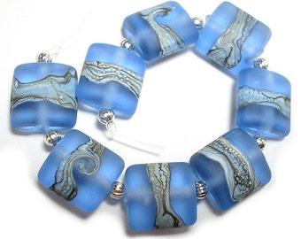Etched Ivory Blues Nuggets SRA Handmade Glass Beads Lampwork Beads
