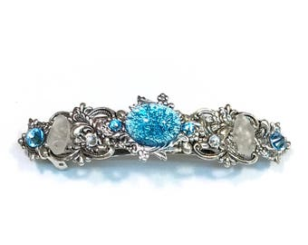 Sparkling Hair Barrette with Aqua Glass Opal Cabochon Crystals and Beach Glass