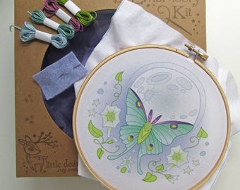 Luna Moth DIY Hand Embroidery Kit Hoop art embroidery pattern designs
