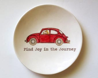 Find Joy in the Journey ... Inspirational Quote . Ring Dish . Ring Holder . Red VW Bug . Dog Driving . Jewelry Dish
