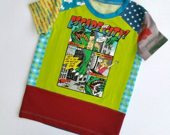 Size 4T (40 inch) Upcycled Boys long sleeve tee shirt escape!