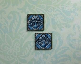 Pair of Dollhouse Miniature Blue Vase Tile Trivets