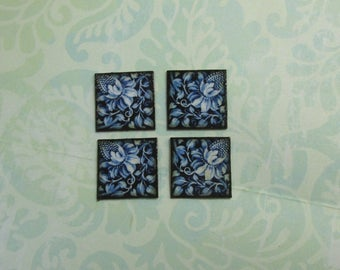 Set of Four Dollhouse Miniature Blue Floral Tiles for Decorating