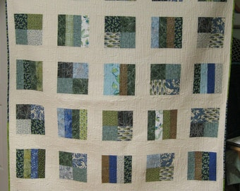 Blue, Green & Cream Squares and Stripes Quilt
