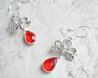 The Imperial- Red and Silver Filigree Earrings