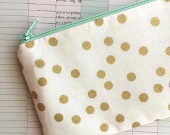 SALE - Gold dots on white bag - Pencil pouch, pencil case, planner pouch, pencil bag