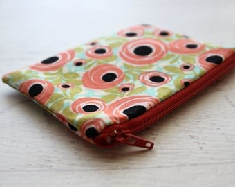 Floral zipper pouch - flower print - poppy - flower wallet - change purse - coin purse - under 10 gift - mothers day - zip pouch - bag