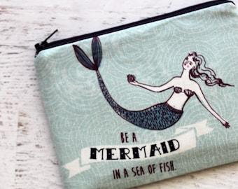 Mermaid print pouch - mermaid bag - zip pouch - mermaid - zipper pouch - nautical - cute zipper pouch - mermaid makeup bag - planner pouch