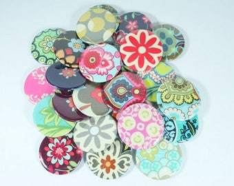 BRIDAL SHOWER FAVORS, baby shower favors - 10 Amy Butler Fabric Button Mirrors