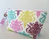 FINAL MARKDOWN Wristlet, makeup bag, aztec medallion, cosmetic bag, zipper pouch, wristlet makeup bag, zipper bag, (522)