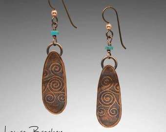 Textured Copper Spiral Design Earrings with Turquoise