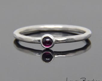 3mm Rhodolite Garnet Bezel Set Stone Stacker Ring in Sterling Silver