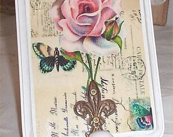 Chic Rose Wall Hook Victorian Shabby Wood Plaque Cottage Decoration
