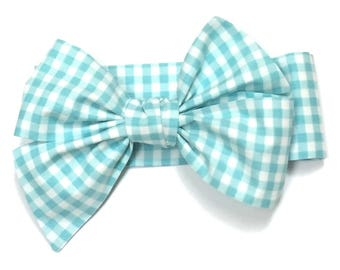 Gingham headwrap, Girls Headwrap, Baby Girl Headwrap, Head Wrap, Girls Headband, Big Bow Headwrap, Photo Prop  -  AQUA & WHITE GINGHAM